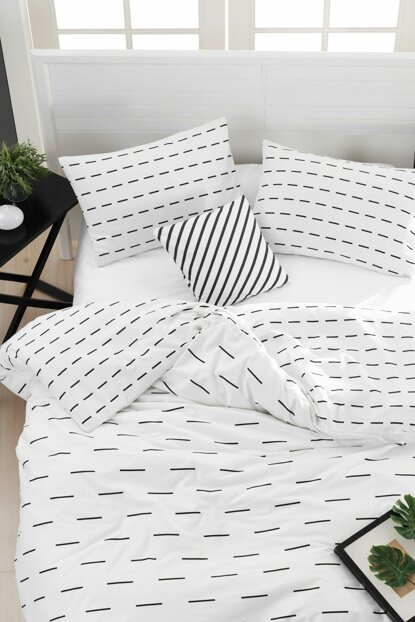 100% Natural Cotton Double Duvet Cover Set Stick White Ep-018695