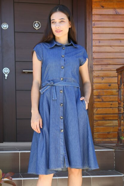Women's Navy Blue Plus Size Denim Dress 1709BGD19_009
