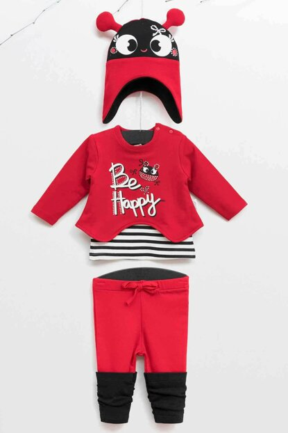 Wogi Baby Girl Sweat Pants Hat 3-Piece Suit 3-18 Months 5365 WG5365