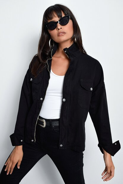 Women's Black Zipper Jean Jacket TV204