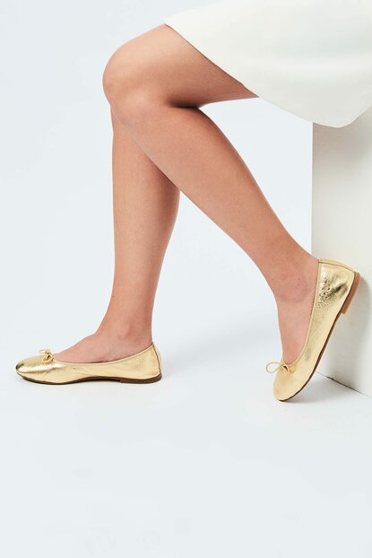 Genuine Leather Gold Flats 120130008724