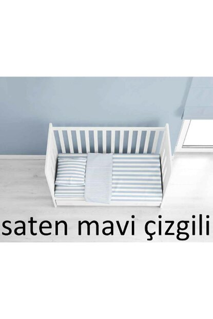 100% Cotton Satin Blue Striped Baby Duvet Cover Sets BEBEKSATENMAVICIZGILI