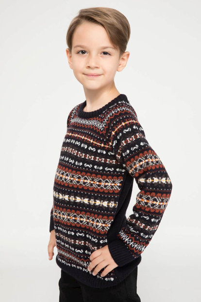Navy Blue Boys Kid's Jacquard Patterned Knitwear Pullover J4743A6.18WN.NV42 J4743A6.18WN.NV42