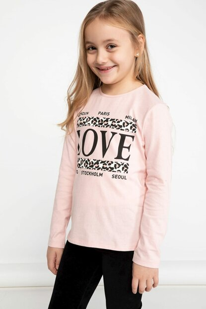 Pink Young Girl Lettering Printed Long Sleeve T-Shirt K4535A6.19SP.PN243