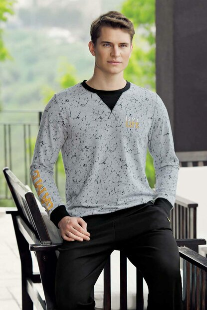 Men's Gray Printed Pajamas Set MEP24501-1 TMEP24501