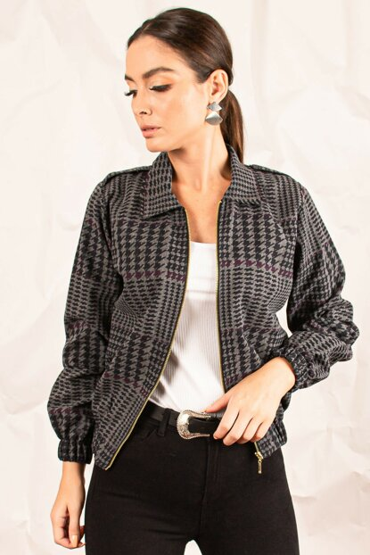 Women's Coffee Front Zippered Crowbar Patterned Coat ARM-20K001017