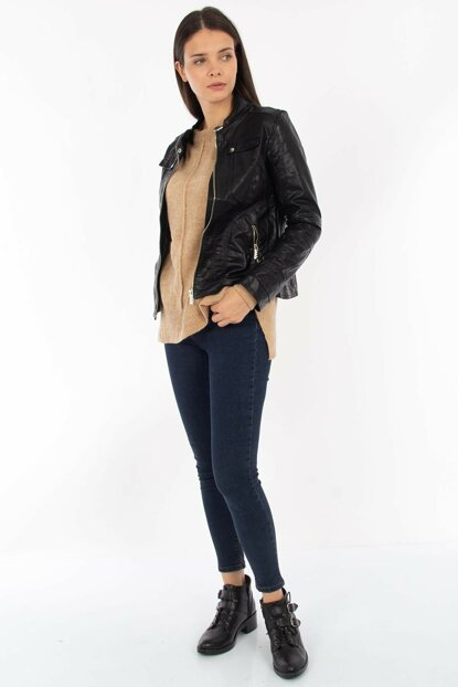 Women's Black Faux And Double Pocket Leather Jacket 1002