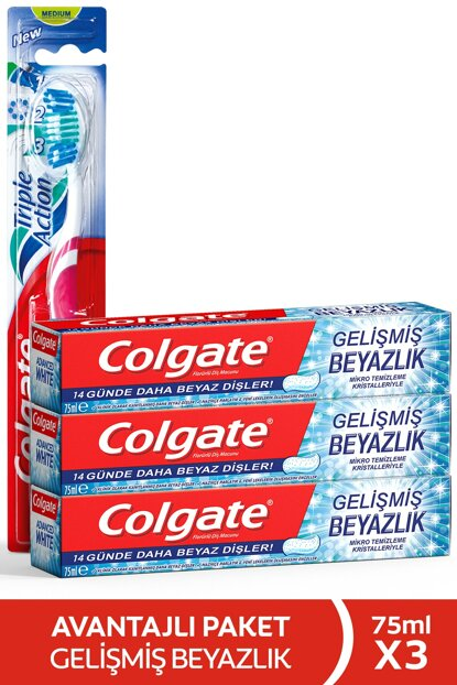 Advanced Whitening Whitening Toothpaste 75x3 Pcs + Triple Effect Toothbrush Medium 869349505167539