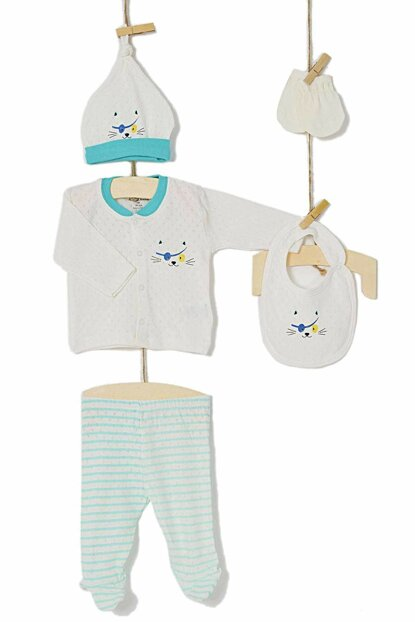 Aziz Bebe Baby Boy Hospital Outlet Outfit Set of 5 5218 AZZ005218