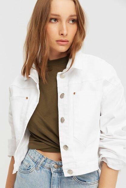 Women's White Short Jeans Jacket with Pockets 20K679101
