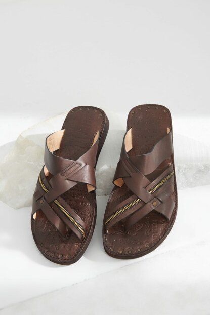 Genuine Leather Coffee Men Slippers 02TEH104090A100