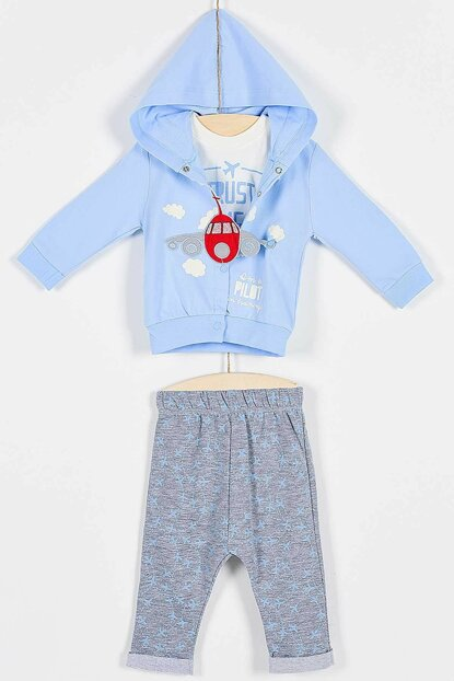 Buude Baby Boy Bottom Top 3 Set With Plane 6-18 Months 6759 B6759