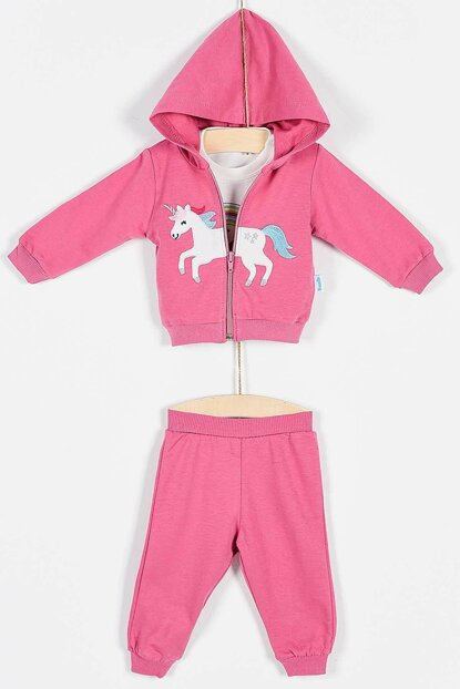 Buude Baby Girl Bottom Top Tracksuit 3 Set Hooded 6-18 Months 6821 B6821