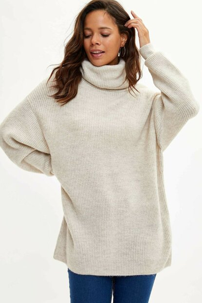 Women's Beige Turtleneck Sweater Tunic J2247AZ.19WN.BG238