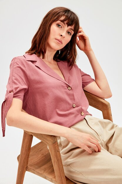 Rose Dry Button Detailed Shirt TWOAW20GO0077