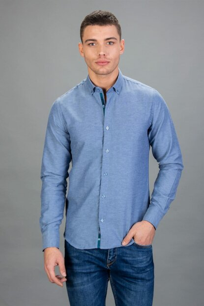 Men's Blue Sport Shirt (Casual) - DR17132-143