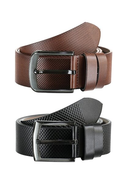 Multicolor Men's Textured Artificial Leather Belt TMNAW20KE0009