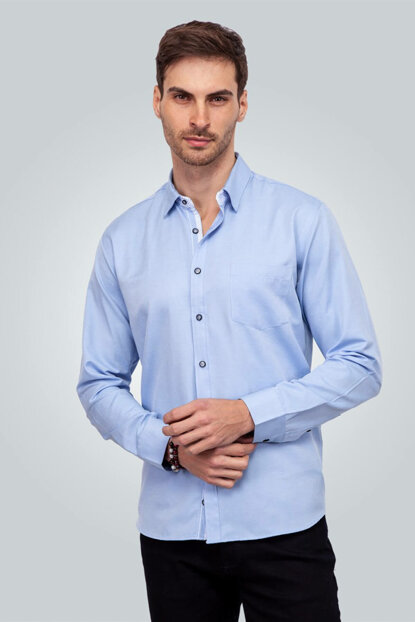 Men's Blue Shirt - KL17040-296