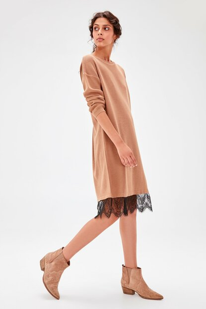 Camel Lace Detailed Sweater Dress TWOAW20EL0030