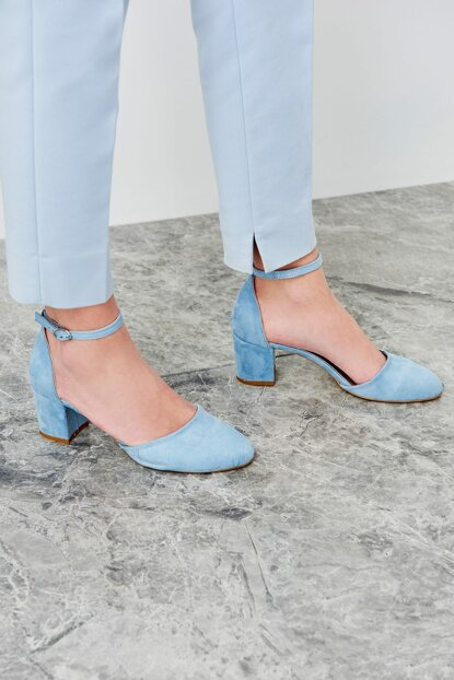 Blue Suede Women's Heeled Shoes 12553