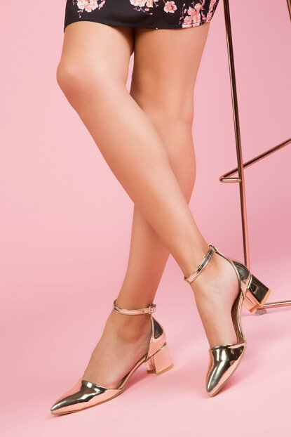 Gold Patent Leather Women's Heeled Shoes 12512