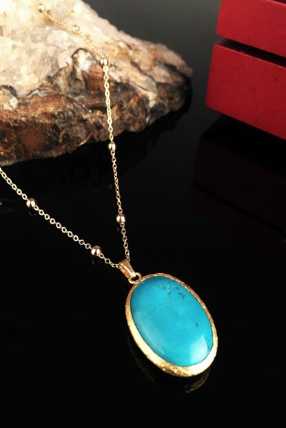 Women's Turquoise Stone Gold Plated Necklace Xkrb33 XKRB33