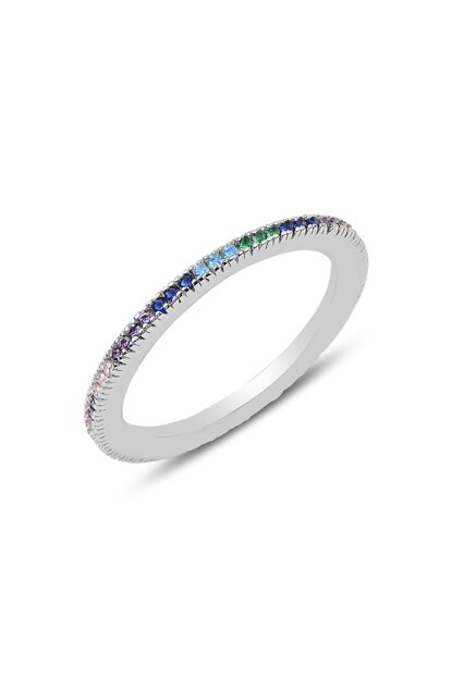 Women's Silver Color Stone Engagement Ring 19 SGTL9778