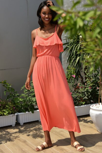 Women's Coral Strap Frilly Dress ALC-018-067-S