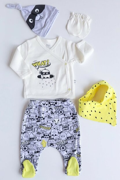 Yellow Mask Embroidered Baby Boy Suit Imj-5-045
