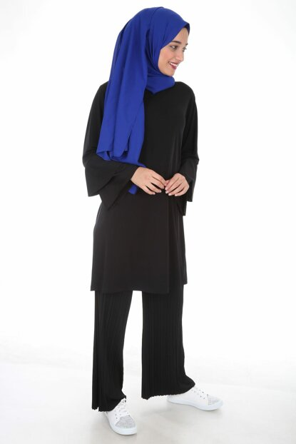 Women's Black Pleated Trousers Tunic Double Hijab Suit 10224BGD19_001
