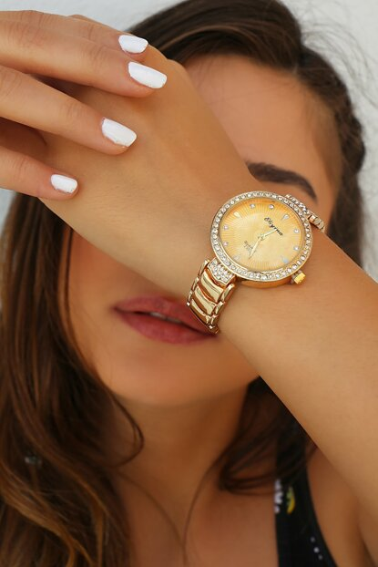 Gold Color Watch with Zircon Stone 8360065