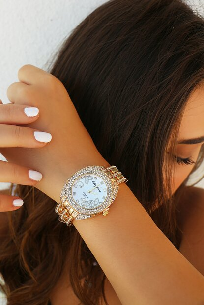 Gold Color Watch with Zircon Stone 8360063