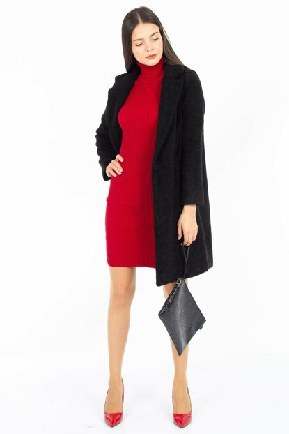 Women's Black Single Button Coat 6495