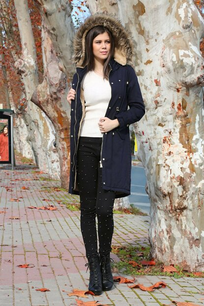 Women's Navy Blue Inside Fur Long Coat 9061BGD19_009