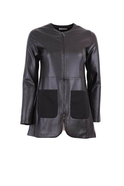 Zippered Leather Jacket Black ILG20K70740