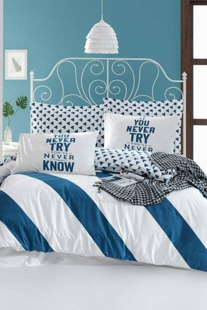 100% Natural Cotton Double Duvet Cover Set Erona Blue Ep-018809