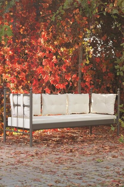 Lalas Metal Sofa Cedar Triple Sofa Brown-Beige LlsSS7KJ