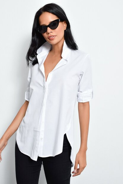 Women's White Hidden Buttoned Long Shirt SF105081