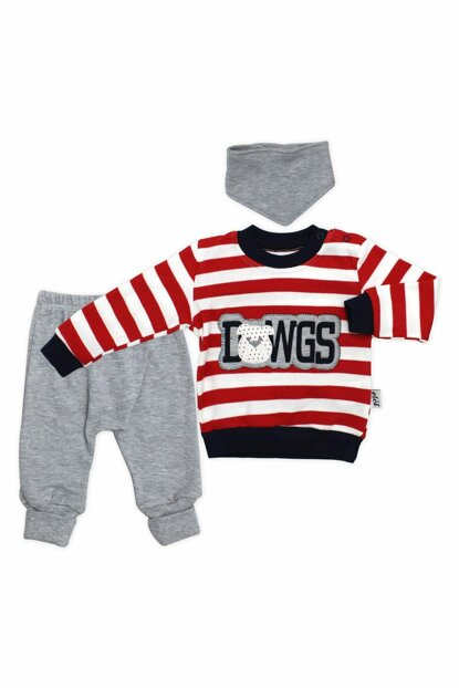 Bulldog Striped Scarf 3 Piece Baby Set K2836