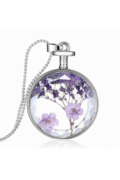 Living Crystal Glass Dried Flower Womens Necklace dr36 ehy-dr36