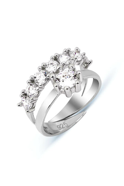 Women's Zircon Sterling Silver Yeditaş Solitaire United Combined Adjustable Ring Y005101