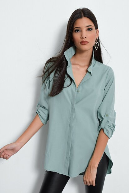 Women's Mint Hidden Button Long Shirt SF105081