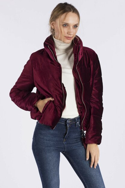 Women's Burgundy Velvet Coat 20-5121