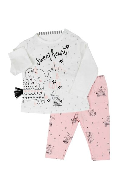 Salmon Elephant Hearted Salmon Baby Girl 2Li Suit AF90161