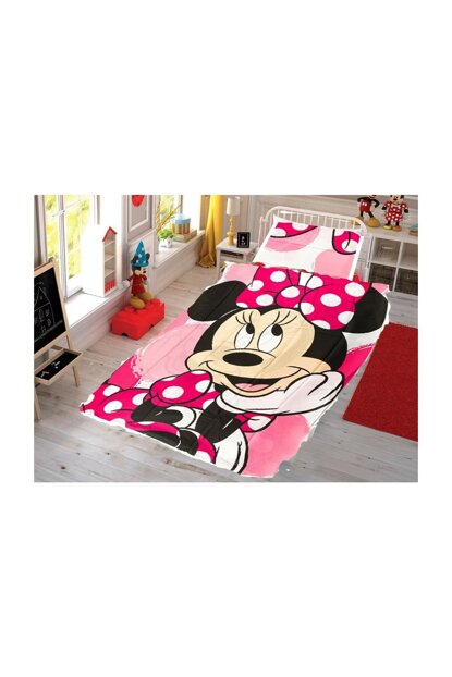 MickyMouse Pink Duvet Cover Set Cotton a356