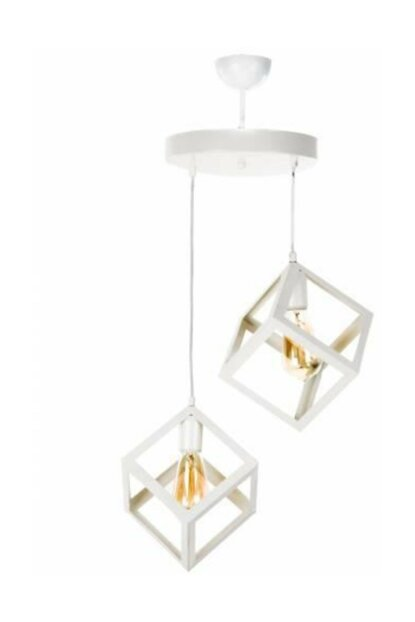 300 2PWHT Modern Rustic White Cube Chandelier with 2 Pieces 10628