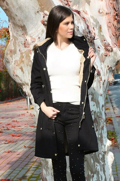 Women's Long Coat with Fur Inside Black 9061BGD19_001