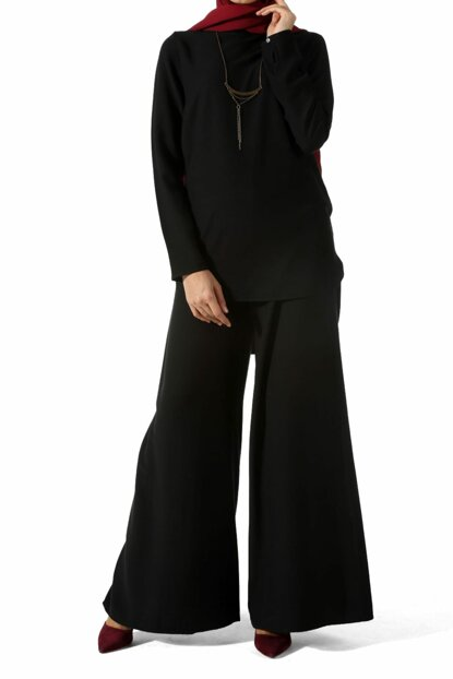 Women's Black Metal Necklace Trousers TK80136