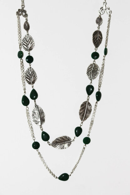 Women's Antique Silver Plated Combined Leaf Necklace LBKDNKLYAGK1649