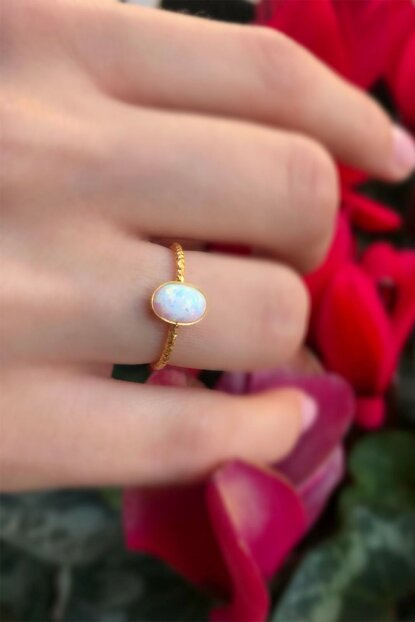 925 Sterling Silver Over Gold Plated Adjustable White Opal Cubic Zirconia Ring ABLSXZ48